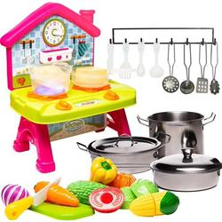 Toddlers Compact Play Kitchen - Mini Cooktop with Super Color-Changing Cooking Effect - Stainless-steel Toy Pots and Pans with Toy Utensils - Cutting Vegetables & Knife - Toy Kitchen Accessories