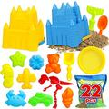 TOY Life Sand Toys for Kids - Beach Toys Includes 2 Beach Sand Castle Bucket Toy Shovel Rake Sifter Sand Castle & Mold , Sand Castle Toys for Beach - Sandbox Toys Set with Waterproof Carrying Net