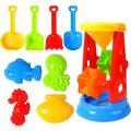 Beach Sand Toys For Kids - 9 PCS Sand Castle Toys for Beach, Snow Toys Sandbox Toys with Water Wheel, Shovels, Rakes, Animal Castle Molds in Mesh Bag, Kids Outdoor Toys