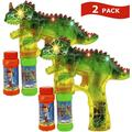 Toysery Dinosaur Bubble Blower Gun for Kids, 2 Pack Light Up Bubble Blaster Guns with Extra Refill Bottles Solution, Sound and LED Flashing Lights Effect Bubble Shooter Gun for Toddler Boys and Girls