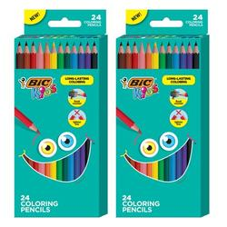 BIC Kids Coloring Pencils, Assorted Colors, 2 Packs of 24 Colored Pencils
