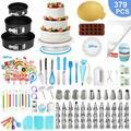 379 Pcs Cake Decorating Supplies Kit Cake Baking Set - Cake Rotating Turntable, Silicone Baking Pans, Cake Decorating Kits, Baking Cups and More, Cake Baking Supplies for Beginners and Cake Lovers