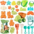 Beach Sand Toys for Kids - 28 PCS Sandbox Toys with Truck, Water Wheel, Castle Bucket, Sand Shovel Tool Kits, Animal Castle Molds in Mesh Bags, Snow Toys Beach Castle Toys for Kids Outdoor Play
