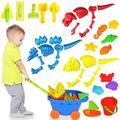 Kids Beach Sand Toys Set, 39pcs Beach Toys Castle Molds Sand Molds, Beach Bucket, Beach Shovel Tool Kit, Sand Wheel, Sandbox Toys for Toddlers, for Toddlers Kids Indoor Outdoor Indoor Play Gift