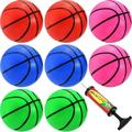 8 Pieces Mini Basketball Mini Hoop Basketballs Pool Basketball Toys with Inflation Pump for Beach Pool Sports Game Party Supplies (Red, Green, Blue, Pink, 4 Inch)