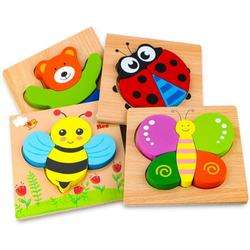 Wooden puzzle, wooden toy, from 1 2 3 years, 4 pieces wooden puzzle Montessori toy for baby, animal wooden puzzle toddler learning toy for children