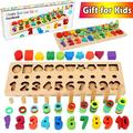 CozyBomB Wooden Number Puzzle Sorting Montessori Toys for Toddlers - Shape Color Sorter Game for Age 3 4 5 Kid - Preschool Education Math Stacking Block - Learning Wood Toy - Chunky Jigsaw