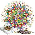 "STACHS PUZZLES Abundant Color Round Mandala Jigsaw Puzzles 1000 Pieces for Adults and Teens. Circular 26.5"" Challenging Brain Teaser 1000 Piece Puzzle. Premium Eco-Materials. Bonus DIY Mandala Ar"