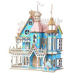 Pretty Dollhouse 3-D Puzzle, Educational Toy Puzzled Set Wooden 3D Puzzle Construction Kit Wooden 3D Model Puzzle Toy Educational Crafts Jigsaw Assembly Puzzle For Kid Child