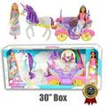 dreamtopia barbie sweetville carriage and barbie doll princesses playset w 2 barbie dolls, unicorn has combable hair, 2 seat carriage & more (2017)