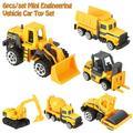 Akozon Kids Car Toy, 6Pcs/set 1:64 Scale Alloy & Plastic Engineering Truck Toy Mini Vehicle Model Kids Gifts