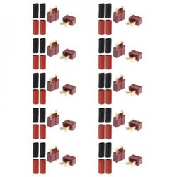 10 Pairs T Plug Male & Female Connectors Deans Style For Rc Lipo Battery