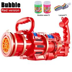 Large Gatling Bubble Machine - Gatling Bubble Gun Toys 2021 Cool Toys & Gift, 8 Hole Automatic Bubble Gun Toys with Small Fan for Kid Birthday Gift (with Bubble Liquid)
