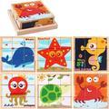 New Hot Sale Kids Toys 3d Puzzle Infant 3d Wooden Puzzles Children's Cartoon Animal Wooden Blocks Kids Early Education 3D Puzzle