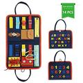 Busy Board for Toddlers Age 1 - 6, Montessori Early Education Activity Toddler Toys for Basic Skills Learning,Dress and Alphabet Spell Cognition, Bag Designed Enlighten Toy for Infants, Boys and