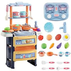 Kitchen Set Pretend Play with Sound & Light Kitchen Toy Pan Spoon Vegetable Fruit Accessories with Water System Children Cooking Playset Educational Gift for Toddlers Kids Girls Boys