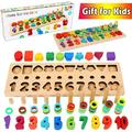 Wooden Number Puzzle Sorting Montessori Toys for Toddlers - Shape Sorter Counting Game for Age 3 4 5 Year olds Kids - Preschool Education Math Stacking Block Learning Wood Chunky Jigsaw