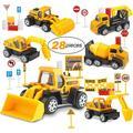 Small Construction Toy Trucks - 28 Piece Sandbox Toy Set with 6X Die Cast Metal Construction Vehicles - Toy Bulldozer, Metal Dump Truck, Diecast Backhoe, Cement Mixer Toy Truck, Excavator Toy