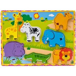 Amerteer 7 Pieces Wooden Wild Animals Chunky Puzzle for Toddlers Educational Toys,Wild Animal Wooden Jigsaw Puzzles Games My First Puzzle Set for Toddlers Kids Educational Toy
