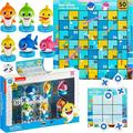 Baby Shark Coral and Bubbles (Chutes and Ladders) and tic-tac-Toe Games- with 6 Self-Inking Baby Shark Figures/Stampers, Dice, Tic-Tac-Toe, Scoreboard - Kids Board Games, Toys and Gifts Ages 3+