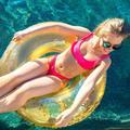 Pool Float Inflatable Floaties Glitter Sequin Pool Tube Swim Rings Pool Toys Summer Beach Toys for Adults Teenagers Girls KidsÂ