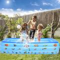 Hemousy Inflatable Kiddie Pool, 80 inch Kids Pool Summer Fun Kids Swimming Pool, Inflatable Bathtub with Inflatable Soft Floor, Ball Pit