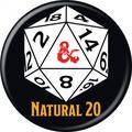Dungeons & Dragons 814254 Dungeons & Dragons Natural 20 Button
