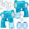 Home Express 2 Bubble Guns with Light and Music, Bubble Blower Toys with 2 Bubble Solution(100ml) for Kids, Bubble Maker and Blower for Party Favors, Birthday Gift, Indoor and Outdoor Summer Play Toys