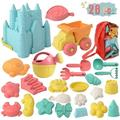 Beach Toys for Kids, 26 pcs Eco-Conscious Assortment of Toddler Beach Sand Toys, Sand Box & Baby Beach Stuff, Reusable Mesh Beach Bag & Sandbox Molds, Kids Outdoor Toys, Sandbox Toys for Kids