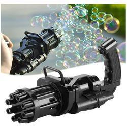 Bubble Gun, Gatling Bubble Machine 2021 Bubble Gun 8-Hole Bubble Blower Automatic Bubble Maker Electric Bubble Gun Bubble Machine Toy for Girls Boys Kids (Black)