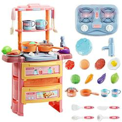 Carevas Kitchen Set Pretend with Sound & Light Kitchen Toy Pan Spoon Vegetable Fruit Accessories with Water System Children Cooking Playset Educational Gift for Toddlers Kids Girls Boys
