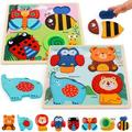 Large Wooden Puzzles for Toddlers - Wooden Animal Toys Puzzles for Toddlers - Jigsaw Animals Puzzles Contains 8 Animal Shape Ladybug Toys - Educational Toys Montessori Toys for Toddler,1 2 3