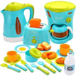 Gold Toy Kids Kitchen Pretend Play Toys with Coffee Maker Machine, Kettle, Toaster, Utensils and Cutting Vegetables Cooking Set Play Kitchen Accessories for Toddlers