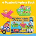 VONTER Puzzle Games 6-in-A-Box!My First Travel Vehicles Puzzle Set Wooden Jigsaw Puzzles for Toddlers Gift,Portable Jigsaw Puzzles for Kids Ages 3-5 Years Old, Toddlers Puzzles with an Iron Box