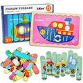 LiKee Vehicles Wooden Jigsaw Puzzles Pattern Blocks Sorting and Stacking Toys Peg Puzzle Preschool Montessori Educational Toys for Toddlers Kids Boys Girls Age 3+ Years Old (32 Pieces & 8 Pattern