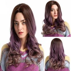 Botrong Long Wavy Wigs Gradient Purple Curly Hair Wig Soft Synthetic Wig for Women 22 Inch Cosplay Wigs Party Wigs with Free Wig Cap