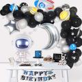 Space Party Supplies - 89Pcs Outer Space Party Decorations Solar System Happy Birthday Banner Rocket Balloons Astronaut Balloon Latex Balloons Strip Set by