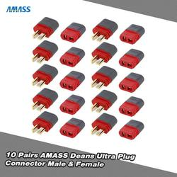 Romacci 10 Pairs AMASS Deans T Plug Connector Male Female Set for RC Car FPV Racing Quadcopter Multirotor Airplane