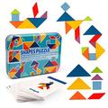 Vanmor Wooden Tangram Pattern Blocks Set, 60 Design Cards with 120 Pattern Jigsaw Puzzle Sorting and Stacking Games Preschool Montessori Educational Toy Children's Day Gift for 3 Year Old Toddler