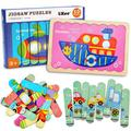 Vehicles Wooden Jigsaw Puzzles Pattern Blocks Sorting and Stacking Toys Peg Puzzle Preschool Montessori Educational Toys for Toddlers Kids Boys Girls Age 3+ Years Old (32 Pieces & 8 Patterns)