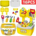 16Pcs Kids Kitchen Play Toys, Mini Kitchen Set with Realistic Fruit Vegetable Simulation, Indoor Games, Cooking Utensils Accessories