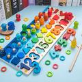 BVSOIVIA Wooden Number Puzzle Sorting Montessori Toys for Toddlers, Shape Sorter Counting Game for Age 2-6Year olds Kids, Preschool Education Math Stacking Block Learning Wood Chunky Jigsaw