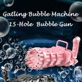 Gatling Bubble Machine 2021 Cool Automatic Gatling Bubble Gun , 15-Hole Novelty Electric Bubble Blower Gatling Gun Outdoor Toys for Kids - Pink