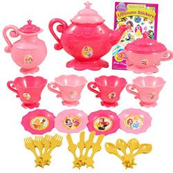 Disney Princess Playset Dinnerware Set - Plastic Princess Pretend Play Tea Time Play Set for Girls Kids Toddlers with Disney Princess Stickers (25 PC)