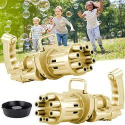 Bubble Gun, Gatling Bubble Machine 2021 Bubble Gun 8-Hole Bubble Blower Automatic Bubble Maker Electric Bubble Gun Bubble Machine Toy for Girls Boys Kids (Gold)