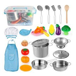D-FantiX Toy Kitchen Accessories, Kids Play Kitchen Toys Pots and Pans Set, Pretend Cooking Playset with Cookware Utensils, Apron and Chef Hat, Cutting Vegetables for Toddler Boys Girls Age 3+