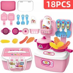 MELLCO 18Pcs Kids Kitchen Play Toys, Mini Kitchen Set with Realistic Fruit Vegetable Simulation, Indoor Games, Cooking Utensils Accessories