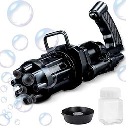 TVOVYS Bubble Gatling Gun, Gatling Bubble Machine 2021 Cool Toys Gift 8 Hole Automatic Bubble Gun Bubbles in Instant Toys (Black)