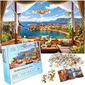 Puzzles for Adults 1000 Piece Stunning Jigsaw Puzzles 1000 Pieces for Adults Challenging, Expertly Cut 1000 Piece Puzzles for Adults + Bonus 1:1 Poster Mediterranean View 27.5 in x 19.6 in