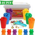 Counting Bears with Matching Sorting Cups, Number Color Recognition STEM Educational Toy for Toddler, Pre-School Learning Toy with 60 Bears,1 Tweezers,13 Activity Cards,1 Storage Box